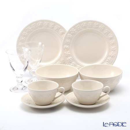 Wedgwood 'Earthenware - Festivity' Ivory Tea Cup & Saucer, Plate, Bowl, Crystal Wine (set of 8 for 2 persons)