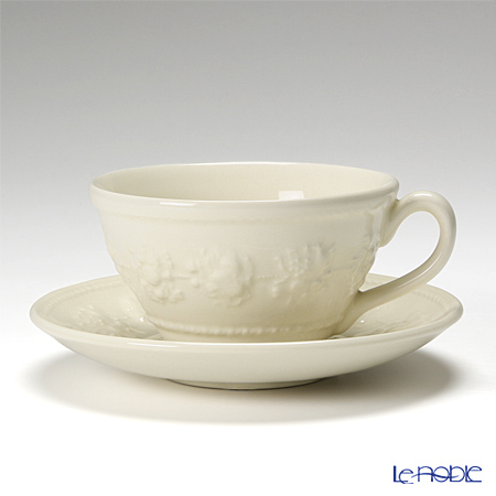 Wedgwood 'Earthenware - Festivity' Ivory Tea Cup & Saucer, Plate, Crystal Wine (set of 6 for 2 persons)