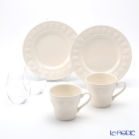 Wedgwood 'Earthenware - Festivity' Ivory Mug, Plate, Crystal Tumbler (set for 6 for 2 persons)