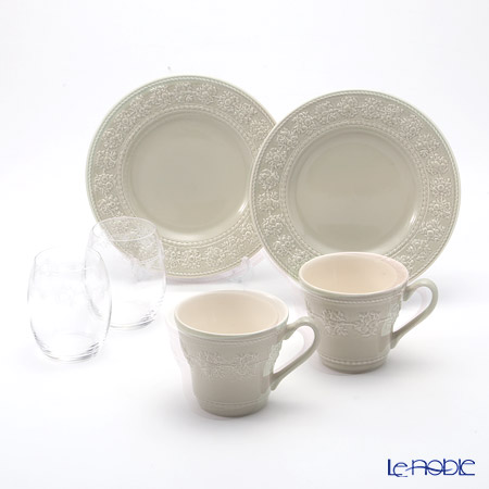 Wedgwood 'Earthenware - Festivity' Sage Green Mug, Plate, Crystal Tumbler (set for 6 for 2 persons)