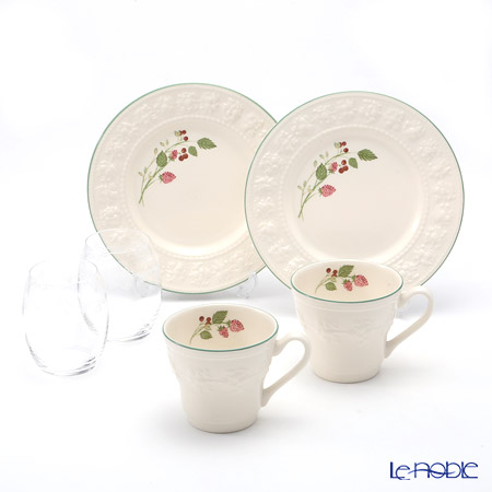 Wedgwood 'Earthenware - Festivity' Raspberry Mug, Plate, Crystal Tumbler (set for 6 for 2 persons)