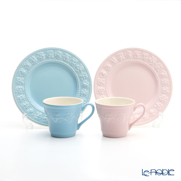 Wedgwood Festivity Blue & Pink Plate & Mag Set Pair