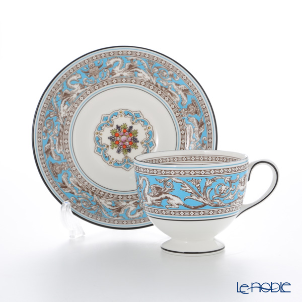 Wedgwood 'Florentine Turquoise' Blue Leigh Tea Cup & Saucer 200ml (set of 2)
