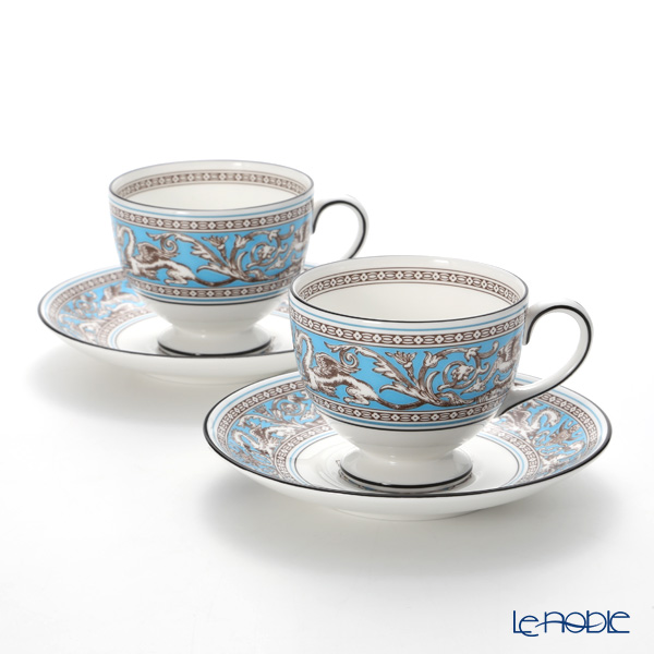 Wedgwood Florentine Turquoise Leigh Teacup and Saucer set of 2