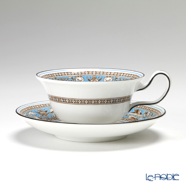 Wedgwood 'Florentine Turquoise' Peony Tea Cup & Saucer 200ml (set of 2)