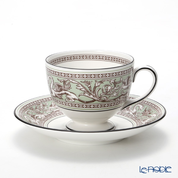 Wedgwood Florentine Sage Green Leigh Teacup and Saucer (Set of 2) with box