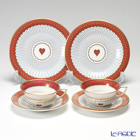 Wedgwood Harlequin Collection Queen Of Hearts Tea Plates & Teacup and Saucer, Set Of 2