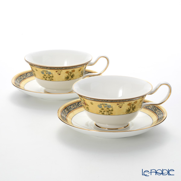 Wedgwood 'India' Peony Tea Cup & Saucer 200ml (set of 2)