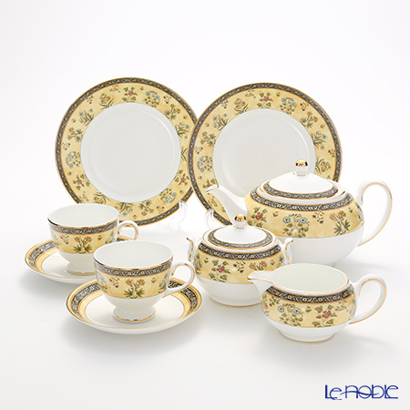 Wedgwood 'India' Leigh Tea Cup & Saucer, Plate, Tea Pot, Sugar Pot, Creamer (set of 7 for 2 persons)