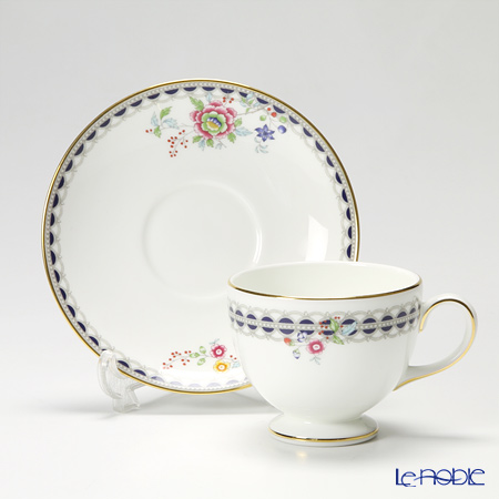 Wedgwood 'Lace Peony' Leigh Tea Cup & Saucer, Plate (set of 2 for 1 person)