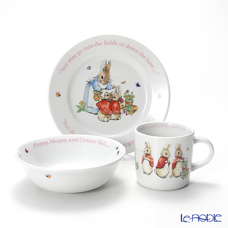 Wedgwood Peter Rabbit: 'Flopsy, Mopsy and Cotton-tail' 3-Piece Set with gift box