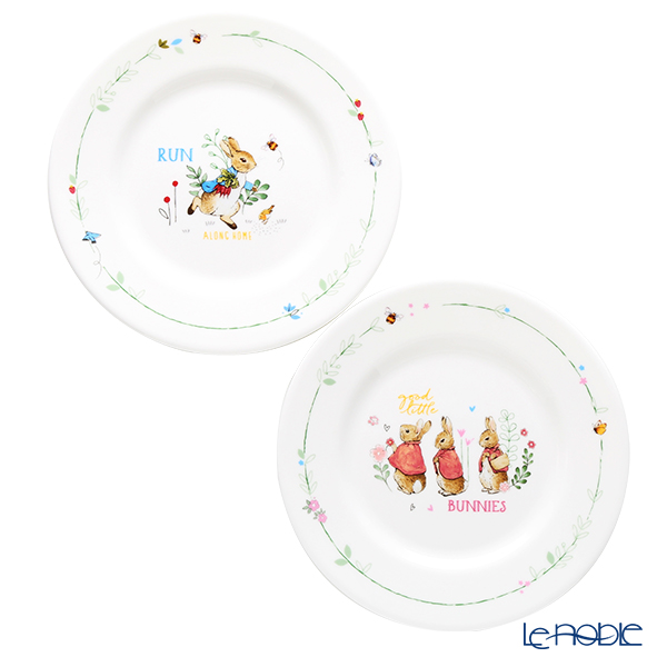 Wedgwood 'Peter Rabbit / Flopsy & Mopsy & Cottontail' Blue & Pink Plate 18cm (set of 2)