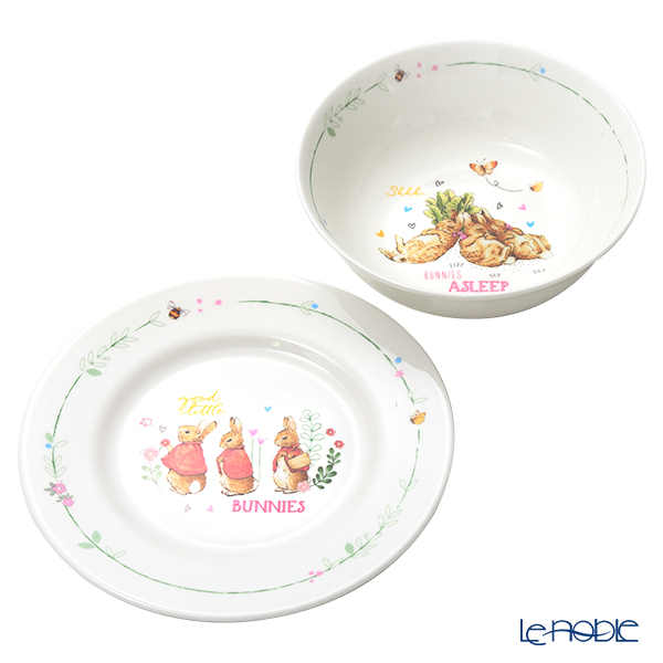 Wedgwood Peter Rabbit Plate 18cm & Bowl 15cm Pink 2 pieces set
