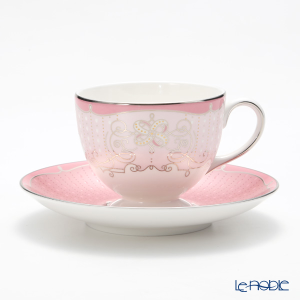 Wedgwood 'Psyche Rose' Pink Leigh Tea Cup & Saucer 200ml (set of 2)