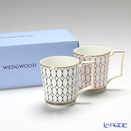 Wedgwood Renaissance Gold Mug, Blue & Pink with box