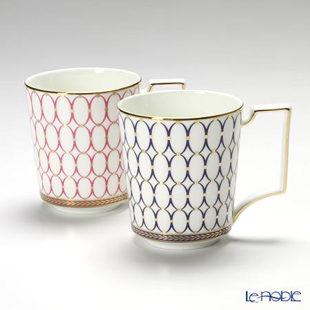 ウェッジウッド(Wedgwood) ルネッサンスゴールド マグ 300cc(ブルー&ピンク) 【ブランドボックス付】