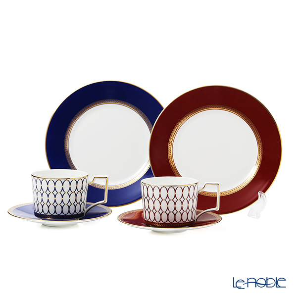 Wedgwood 'Renaissance Gold (Blue) & Red' Tea Cup & Saucer, Plate (set of 4 for 2 persons)