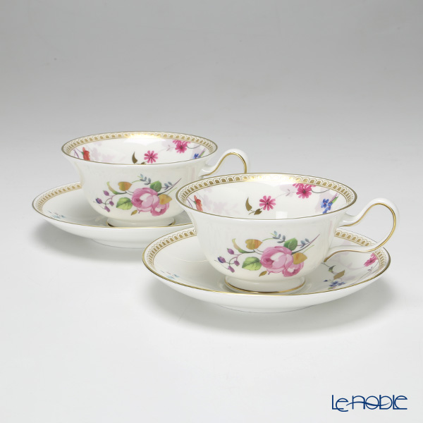 Wedgwood Rose Gold Peony Teacup & Saucer set of 2 with gift box