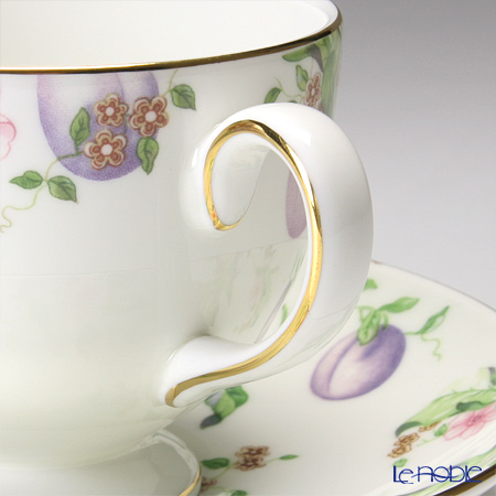 """Wedgwood Sweet Plum """"Tea set for 2 persons"""" Leigh Tea Cup & Saucer, Plate (set of 4)"""