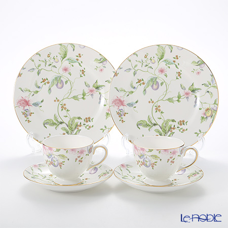 Wedgwood Sweet Plum Plate 20 cm and Leigh Teacup & Saucer for 2