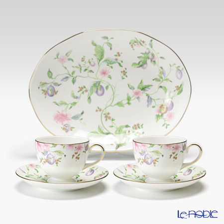 Wedgwood Sweet Plum Leigh Teacup & Saucer (set of 2) and Oval Dish 25 cm