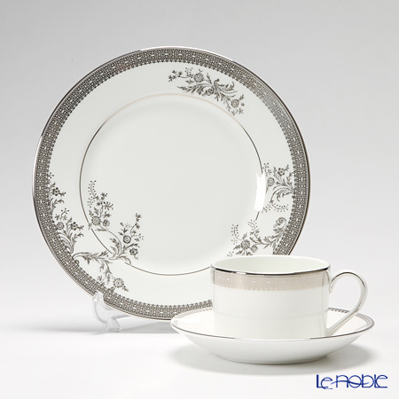 Wedgwood Vera Wang Lace Platinum Teacup & Saucer and Plate 20 cm