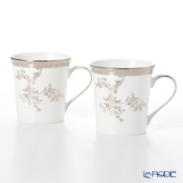 Wedgwood Vera Wang - Lace Platinum Mug 300ml (set of 2)