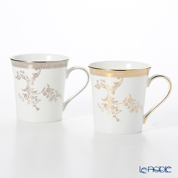 Wedgwood Vera Wang - Lace Gold & Platinum Mug 300ml (set of 2)