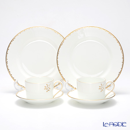 Wedgwood Vera Wang - Gilded Leaf Salad Plate and Teacup & Saucer set for 2