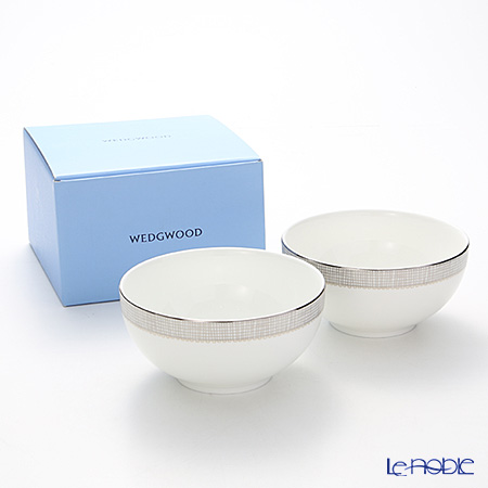 Wedgwood Vera Wang - Gilded Weave Platinum Cereal Bowl 15 cm set of 2 with box