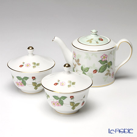 Wedgwood Wild Strawberry Japanese Small Teapot and Oriental Teacup with lid 2 pcs.