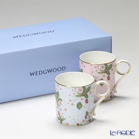 ウェッジウッド(Wedgwood) ワイルドストロベリー ブルームマグ 250cc ペア(ブルー&ピンク) 【ブランドボックス付】