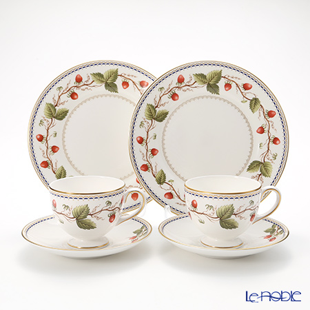 Wedgwood 'Wild Strawberry Archive' Leigh Tea Cup & Saucer, Plate (set of 4 for 2 persons)
