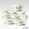 Wedgwood 'Wild Strawberry' Peony Tea Cup & Saucer, Tea Pot, Sugar Box, Creamer (set of 9 for 6 persons)