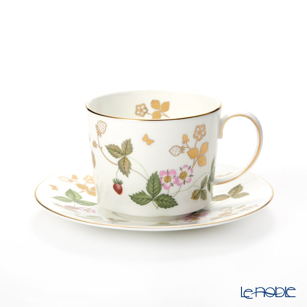 Wedgwood 'Wild Strawberry Gold' Tea Cup & Saucer, Plate (set of 4 for 2 persons)