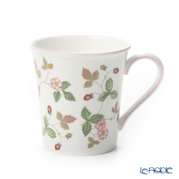 Wedgwood 'Wild Strawberry Casual' Pink & Green Mug, Plate (set of 4 for 2 persons)
