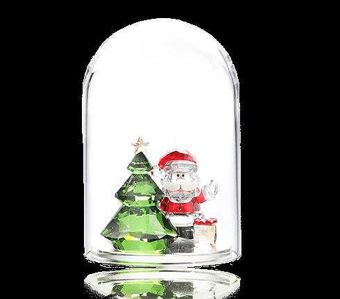 ガラス鐘 クリスマスツリーとサンタ